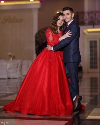 Preiswerte Hochzeitskleider Rot | Prinzessin Brautkleid Mit Spitzeärmel_3