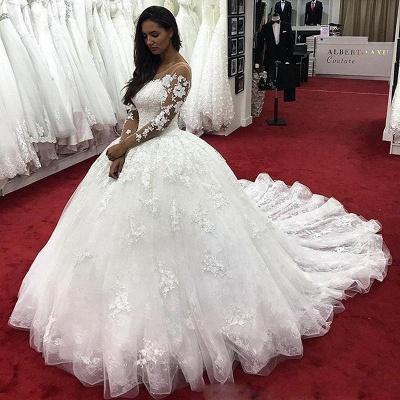 Fashion Brautkleider Mit Ärmel | Günstige Hochzeitskleider Spitze Prinzessin_2