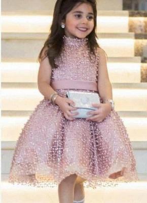 Modern Rosa Blumenmädchenkleider Kurz Perlan A Line Kinder Kleider Für Hochzeit_1