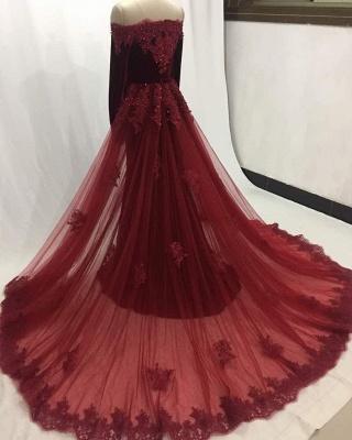Elegant Wine Red Evening Dresses Long Sleeves Velvet Prom Dresses Cheap Online_2