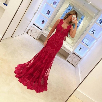 Red Evening Dresses Long Cheap Lace Mermaid Evening Wear Prom Dresses_2