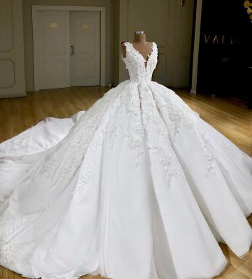 Luxury Weiße Hochzeitskleider A Linie Spitze Brautkleider Online_2