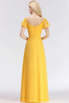 Vintage Bridesmaid Dresses Long Chiffon Bridesmaid Dress Yellow_5