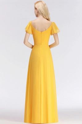 Vintage Brautjungfernkleider Lang Chiffon Brautjungfer Kleid Gelb_5