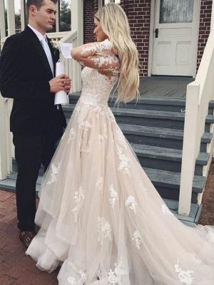 Elegante Brautkkleider mit Ärmel | A Linie Hochzeitskleider mit Spitze_2