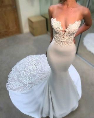 Weiße Hochzeitskleider Mit Spitze Meerjungfrau Brautkleider Online Kaufen_1