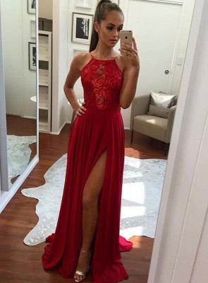 Red Prom Dresses Evening Dresses Long Lace Chiffon Floor Length Party Dresses Online_1