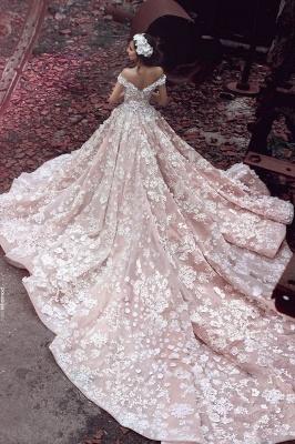 Luxury Rosa Hochzeitskleider Mit Spitze Schuterfrei A Line Brautkleider Günstig Online Kaufen_2