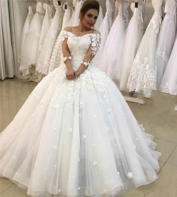 Modern wedding dresses with sleeves | Wedding dresses a line with lace_4
