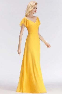 Vintage Brautjungfernkleider Lang Chiffon Brautjungfer Kleid Gelb_3