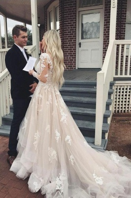 Elegante Brautkkleider mit Ärmel | A Linie Hochzeitskleider mit Spitze_3
