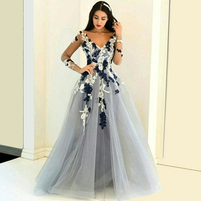 Sexy Prom Dresses Long A Line Lace Tulle Evening Wear Evening Dresses_3