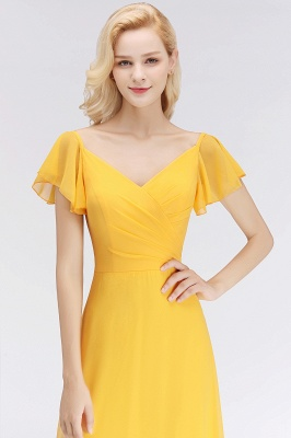 Vintage Bridesmaid Dresses Long Chiffon Bridesmaid Dress Yellow_4