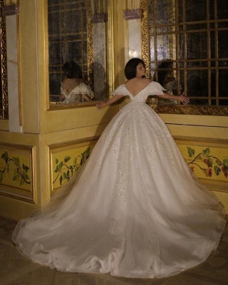 Wedding dress A line with lace | White organza wedding dresses_3