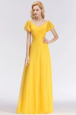 Vintage Bridesmaid Dresses Long Chiffon Bridesmaid Dress Yellow_1