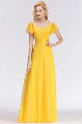 Vintage Brautjungfernkleider Lang Chiffon Brautjungfer Kleid Gelb_1