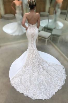 Weiße Hochzeitskleider Mit Spitze Meerjungfrau Brautkleider Online Kaufen_2