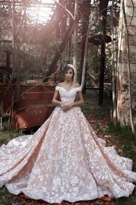 Luxury Rosa Hochzeitskleider Mit Spitze Schuterfrei A Line Brautkleider Günstig Online Kaufen_1