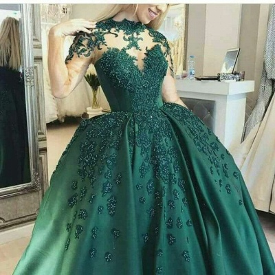 Elegant evening dresses long green | Floor length prom dresses online_3