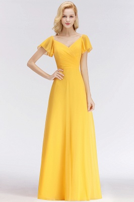 Vintage Brautjungfernkleider Lang Chiffon Brautjungfer Kleid Gelb_2