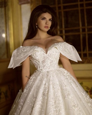 Wedding dress A line with lace | White organza wedding dresses_2