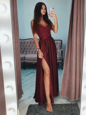 Cheap Evening Dresses Long Wine Red | Evening wear with lace_1