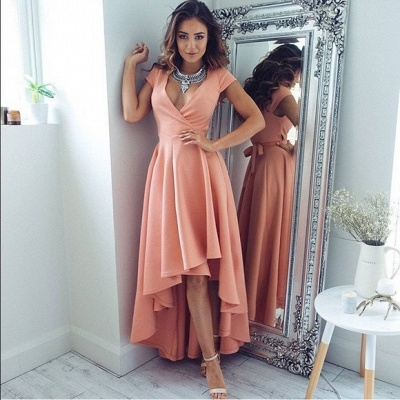 Coral Cocktail Dresses Front Short Behind Long With Sleeves Party Dresses Prom Dresses_2