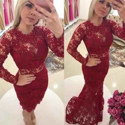 Designer Rote Abendkleider Spitze Mit Ärmel Meerjungfrau Ballkleider Abendmoden Online_2