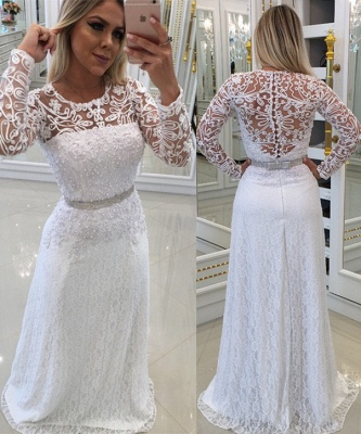 Elegant evening dress white long cheap with lace sheath dress prom dresses with sleeves_1