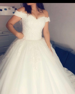 Designer White Wedding Dresses With Lace A Line Wedding Dress Cheap_1
