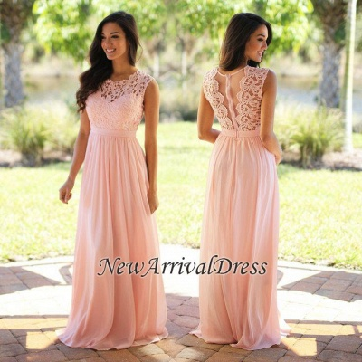 Cheap Bridesmaid Dresses Long Pink With Lace Chiffon Dresses For Bridesmaids_1