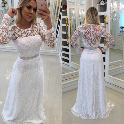 Elegant evening dress white long cheap with lace sheath dress prom dresses with sleeves_2