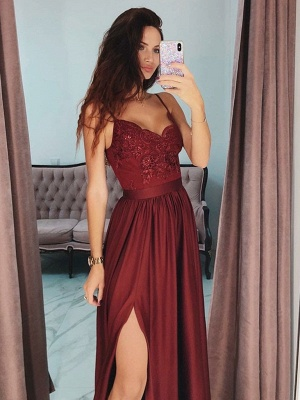 Cheap Evening Dresses Long Wine Red | Evening wear with lace_2