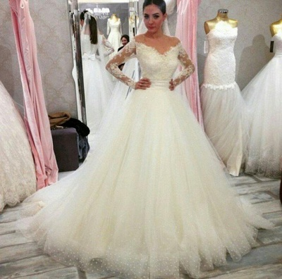 Cheap wedding dresses with sleeves | Wedding dress A line lace_2