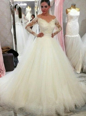 Cheap wedding dresses with sleeves | Wedding dress A line lace_1