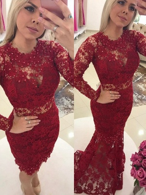 Designer Red Evening Dresses Lace With Sleeves Mermaid Prom Dresses Evening Wear Online_1