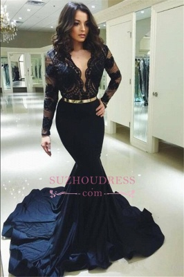 Evening dress long lace black | Evening dresses with sleeves online_1