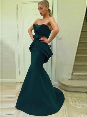 Dunkel Grün Lange Abendkleider Günstig Meerjungfrau Abiballkleider Abendmoden_1