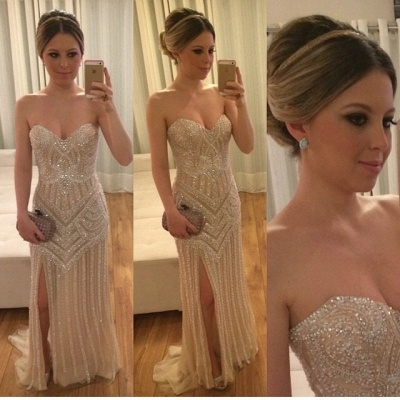 Luxurious Prom Dresses Long Cheap Beaded Mermaid Style Evening Wear Prom Dresses_2