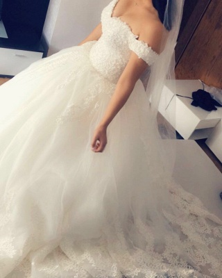 Designer White Wedding Dresses With Lace A Line Wedding Dress Cheap_2