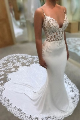 Designer Wedding Dresses With Lace Spaghetti Straps Wedding Gowns White Online_1