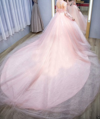 Elegant pink wedding dress with lace sleeves princess wedding dresses cheap online_3