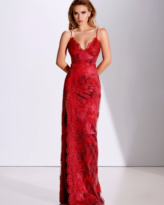Fashion evening dresses long red | Top evening wear online_1