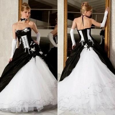 Elegante Schwarz Weiße Brautkleider A Linie Hochzeitskleider Online_3