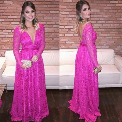Fuchisa Evening Dresses Long Sleeves V Neckline Evening Wear Prom Dresses Cheap_2
