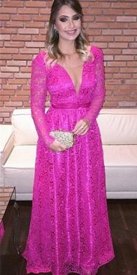 Fuchisa Evening Dresses Long Sleeves V Neckline Evening Wear Prom Dresses Cheap_1