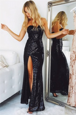 Sexy Black Evening Dresses Long Sequins Mermaid Prom Dresses Evening Wear Cheap_1