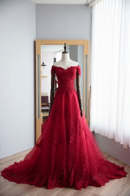 Fashion Dark Red Evening Dresses Long With Lace A Line Prom Dresses Online_1