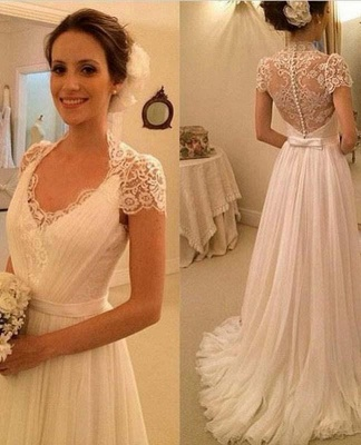 Simple wedding dresses lace cheap chiffon dresses wedding dresses online_1