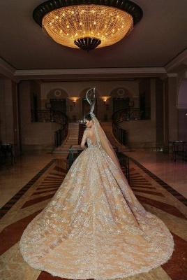 Luxus Hochzeitskleider Gold | Brautmoden A linie mit Spitze_2